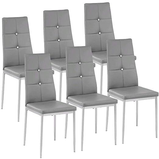 Homgrace Set de 6 sillas de Comedor Sillas Tapizadas Símil Piel, Estructura  Metálica Gris