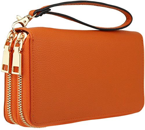 B BRENTANO Vegan Double-Zipper Wallet Clutch with Removable Wrist Strap (Orange) ()