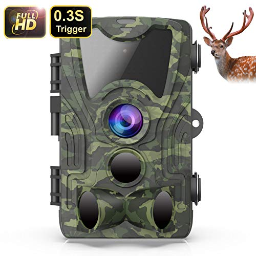 FHDCAM Trail Camera, Scouting Hunting Cam with Motion Activated, 1080P HD, Night Vision, 120° Wide Angle Lens, IP65 Waterproof Game Camera for Wildlife - New Version