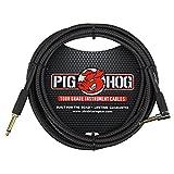 Pig Hog PC-H10BKR - Cable de instrumento trenzado, ángulo recto de 3 m