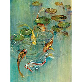 Portfolio Canvas Decor Large Printed Canvas Wall Art Painting, 30 X 40 Inch, Koi at Play, Framed and Stretched Ready to Hang