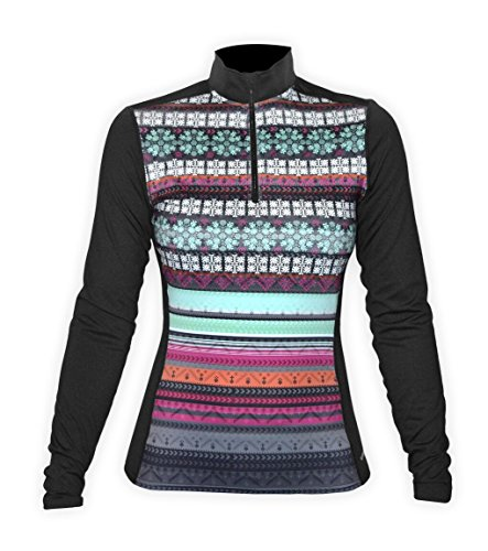 Hot Chillys Women's Micro-Elite Chamois Sublimated Print Zip-T, Nordic/Black - M (Micro Elite Chamois)