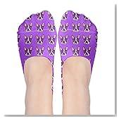 Purple Boston Terrier Dog Women No-Show Casual Liner Socks Low Cut Ankle Socks Boat Socks