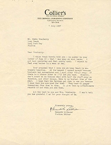 Kenneth Littauer Typed Letter Signed 07/07/1937