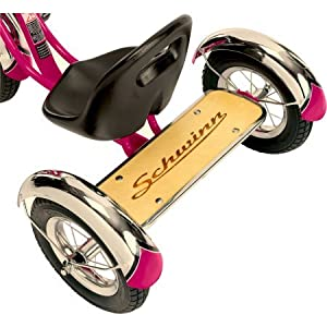 "12"" Schwinn Roadster Trike With Custom ""Mustache"" Cruiser Handlebars with Long Tassels, Hot Pink"