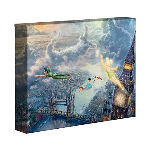 Disney Canvas Art - Thomas Kinkade Tinker Bell and Peter Pan Fly to Neverland 8 x 10 Gallery Wrapped Canvas