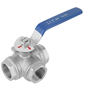 """304 Stainless Steel 3-Way Ball Valve, 1"""" DN25 L-Type Female Thread Valve with Vinyl Handle for Water Oil Gas"""