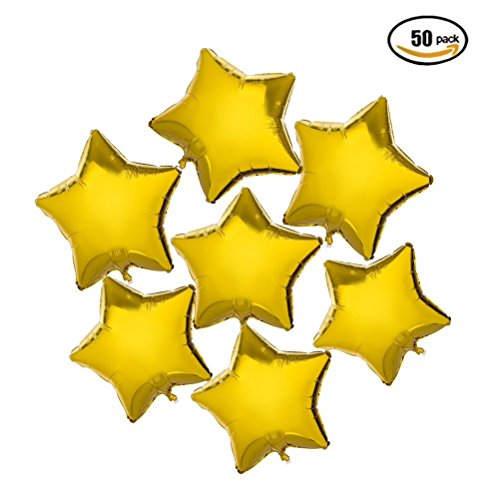 10 inch Twinkle Little Gold Stars Shaped Foil Mylar Balloons Baby Shower Helium Balloons Birthday Graduation Party Decor Wedding Engagement Favors Christmas Decorations, 50PC