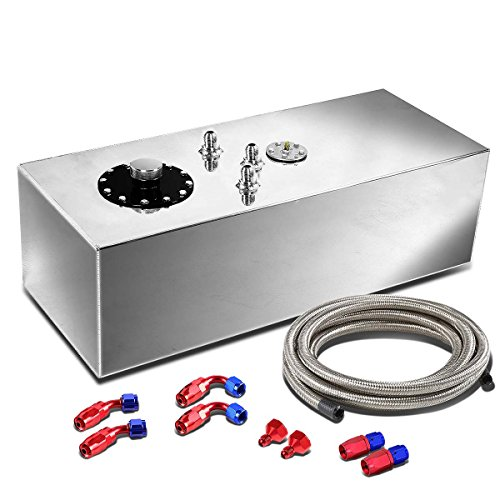 - 15-Gallon Aluminum Top-Feed Fuel Cell Gas Tank+12 inches Silver Return Hose Line Fitting Kit