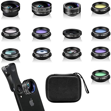13 Pieces for iPhone 11 Xs 10 8 7 6 Plus SE Samsung and Most Andriod Phone Wide Angle Lens /& Macro Lens+Fisheye Lens and More Phone Camera Lens Kit
