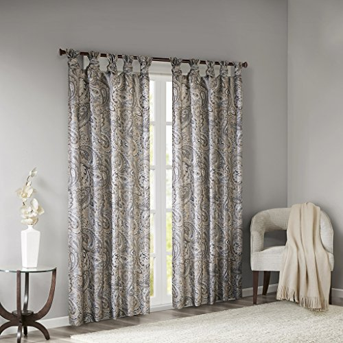 Madison Park Yvette Twist Tab Paisley Printed Curtain Panel Window Treatment Drapes for Bedroom Living Room and Dorm, 50