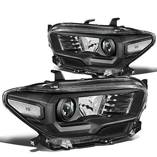 Pair Black Housing Clear Corner Projector Headlight/Lamps for 16-18 Toyota Tacoma