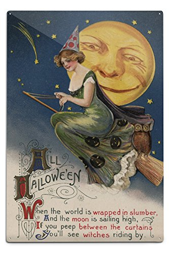 Halloween Greeting - Witch in Flight - Vintage Holiday Art  Aluminum