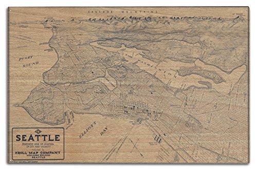 Lantern Press Seattle, Washington - (1925) - Panoramic Map (10x15 Wood Wall Sign, Wall Decor Ready to Hang)