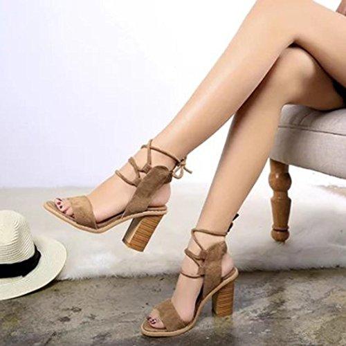 Angelof Sandales Femmes, Sandales à Talons Femme SoiréE Sandales Compensees Corde Chaussure Solide Peep Toe Cross Attaché Femmes Escarpin en Cuir Suede Marron