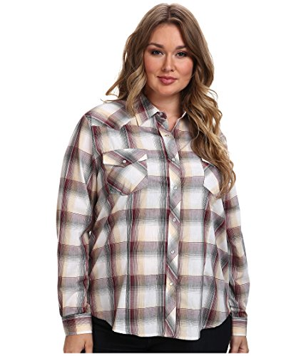 (Roper Ladies Tri-Color Plaid Long Sleeve Western Shirt with Gold Lurex (1X))
