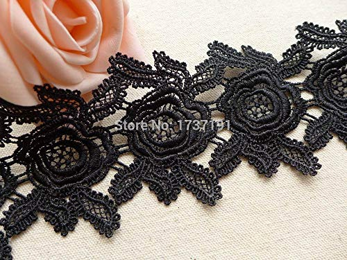 (Lace Crafts - Venise Lace, Embroidery Flower Lace, Wedding Dress Sashes Lace, One Yard - (Color: Black))