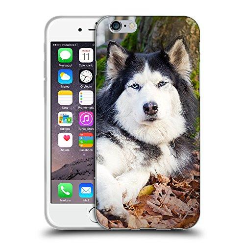 """Just Phone Cases Coque de Protection TPU Silicone Case pour // V00004324 Chien noir et blanc sous l'arbre // Apple iPhone 6 4.7"""""""