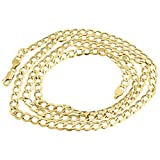 10K Yellow Gold 5.0mm Hollow Cuban Curb Link Chain Necklace Lobster Clasp
