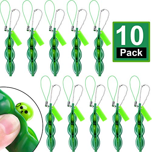 - meekoo 10 Pieces Fidget Bean Toy Funny Facial Expression Bean Fidget Toy Soybean Stress Relieving Keychain, Green