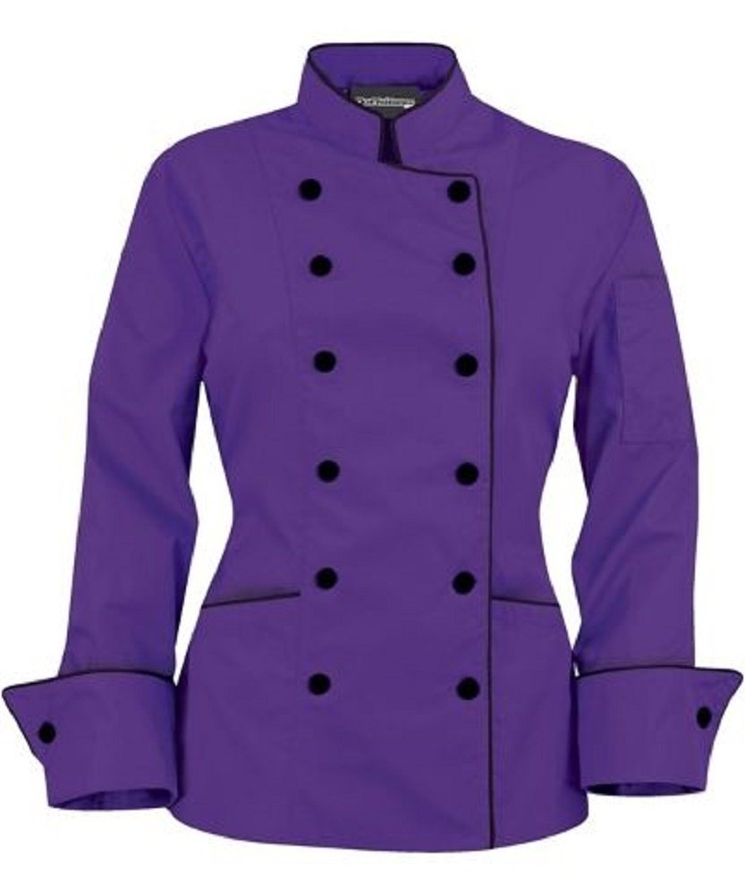 Long Sleeves Stylish Women's Ladies Chef's Coat Jackets (XXL (to Fit Bust 42-43), Purple)