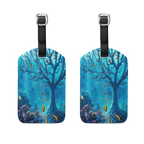 Set of 2 Luggage Tags The Underwater World Personalized Suitcase Labels Travel Accessories