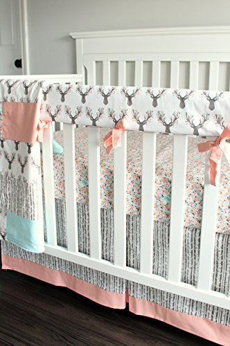 Floral Coral Deer Fawn 3 PC Crib bedding Set-Rail Cover, Crib Skirt, Sheet