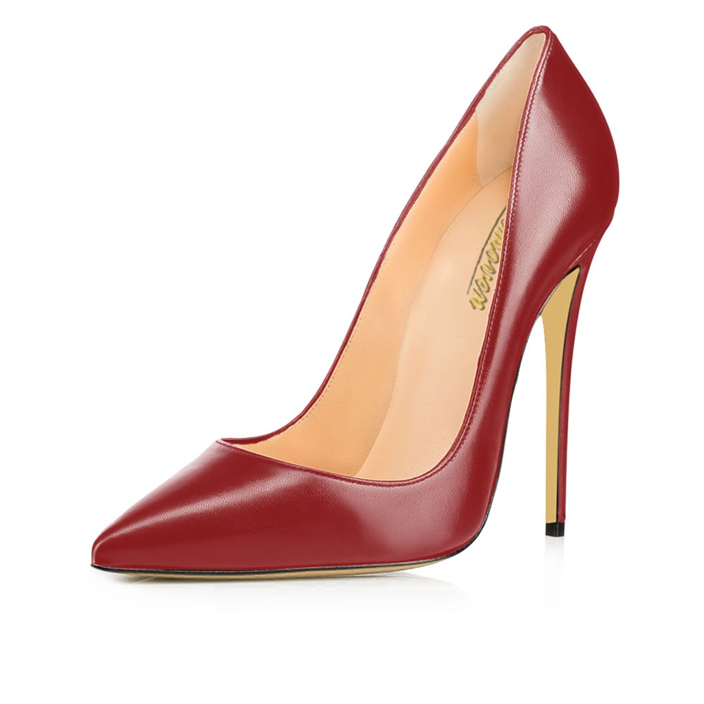 Modemoven Women's Pointy Toe High Heels Slip On Stilettos Large Size Wedding Party Evening Pumps Shoes B073Y6QHFQ 11 B(M) US|Wine Red Faux Leather