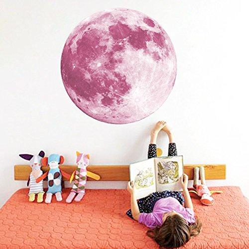 Lights Wallpaper Mural - CaseFan 50cm Glow in Dark Full Moon Light Luminous Wall Stickers Vinyl Removable Art Mural Wallpaper DIY Decals(19.7x19.7 Inches) for Kid Baby Nursery,Pink