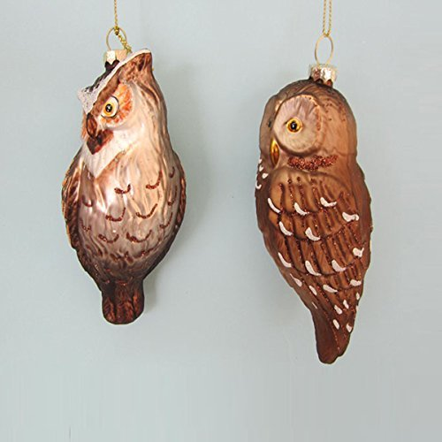 Kurt Adler Glass Owl Ornament Set