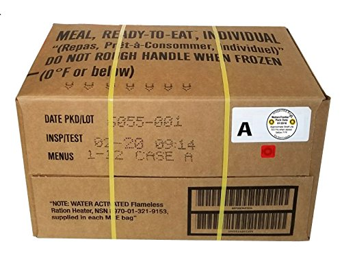 MRE 2020 Inspection Date Case, 12 Meals with 2020 Inspection Date, 2017 Pack Date. Military Surplus Meal Ready to Eat. (A-Case)