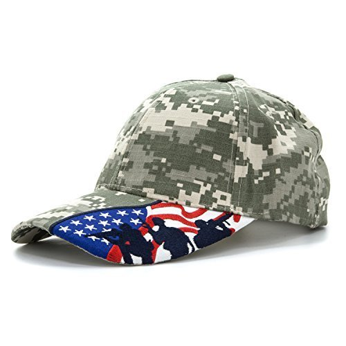 Army Force Gear Embroidered USA Flag Marine Soldiers Silhouettes 100% Cotton Adjustable Baseball Cap, Digital (Womens Digital Camo)