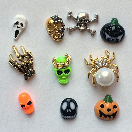 Winstonia Halloween Assorted Pieces 3D Alloy Nail-Art Decoration Bling Rhinestone Bead Decor - Skull, Spider, Ghost, Skeleton