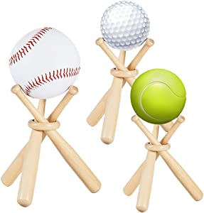 JeogYong Baseball Display Stands, 3 Pcs Baseball Holder for Balls Display, Contains of 9 Mini Wooden Baseball Bats for Kids/Adults Room Decor Boys/Men Bedroom & Office Table Desk, Holiday Party Gifts