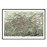 Atlanta 1892 Historical Print Mounted Framed Wall Map Frame Color: Black