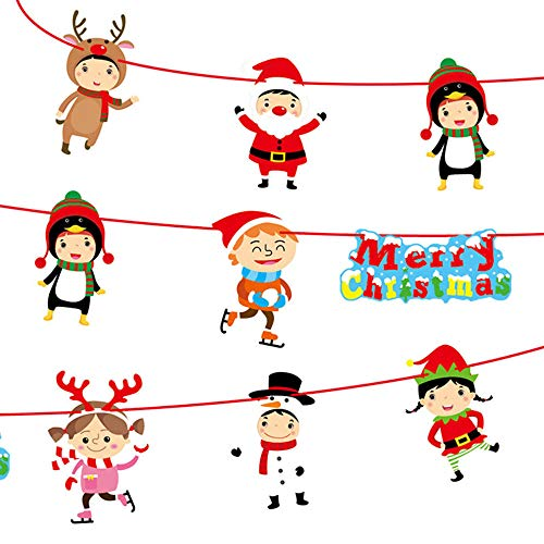 Christmas Decoration Hot Sale!!Kacowpper Christmas Paperboard Pennant Flags Banners Hanging Buntings Garland Banner