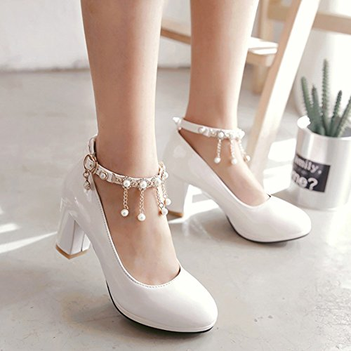 Easemax Womens Elegant Ankle Buckle Strap Chains Beaded Round Toe Mid Chunky Heel Pumps Shoes White SZ9Dd5