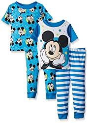 Disney Boys' Mouse Cotton Pajama Set, Mickey Blue, 12M