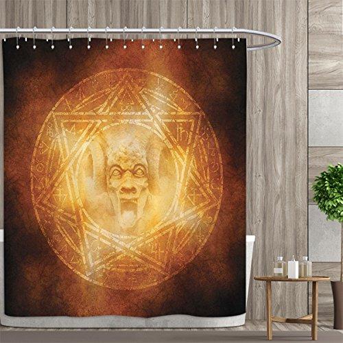 Horror House Decor Shower Curtains With Shower Hooks Demon Trap Symbol Logo Ceremony Creepy Ritual Fantasy Paranormal Design Fabric Bathroom Set with Hooks 72''x84'' Orange by Davishouse