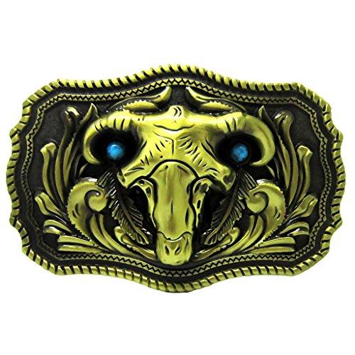 eo Bull Skull Steer Head Western Belt Buckle Men's Accessories ()