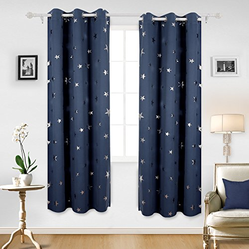 Deconovo Foil Print Star Grommet Thermal Insulated Window Blackout Curtains For Living Room 42x84 Inch Navy Blue 1 Pair