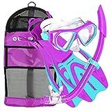 U.S. Divers Dorado JR Mask Fins Snorkel Set, Fun Purple, Small