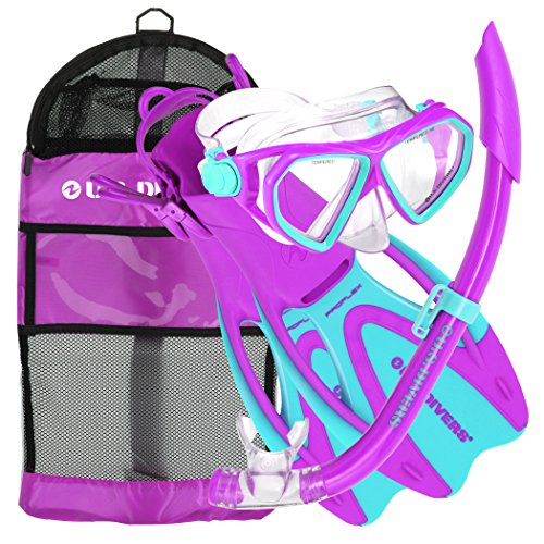 U.S. Divers Dorado JR Mask Fins Snorkel Set, Fun Purple, Small]()