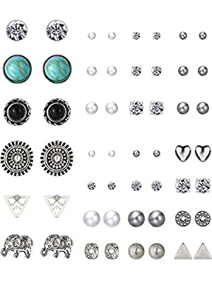 TOODOO 27 Pairs Multiple Stud Earrings Set Cute Vintage Earrings for Girls Women Men from TOODOO