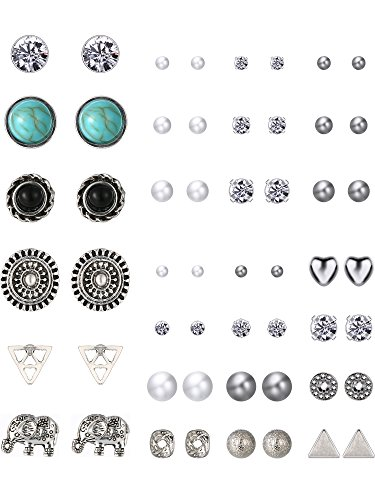 TOODOO 27 Pairs Multiple Stud Earrings Set Cute Vintage Earrings for Girls Women Men (Silver)