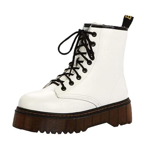 DAYLIN Mujer Moto Botas Retro Lace-up Zapatos de Plataforma Botines Boots con Cordones Antideslizantes Botas Militares: Amazon.es: Zapatos y complementos