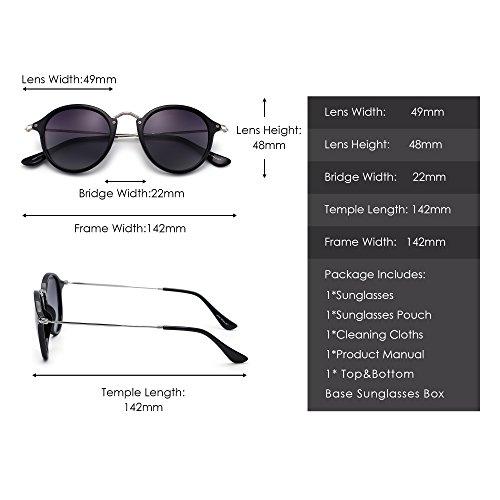 Retro Lentes Circulo Gafas Espejo Polarizadas Gris Mujer Polarizado de Tintado Brillante Redondas Pequeño de Sol Negro Hombre R1tw1p