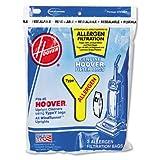 hoover bag 4010100y - Disposable Allergen Filtration Bags For Commercial WindTunnel Vacuum, 3/Pack