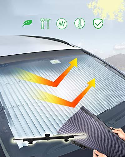 🥇 Kwak's Parasol Automática Plegable para el Coche Bloqueador de Rayos Solares Potente Ventosa Protección Solar para Enfriar el Coche Sombrilla Telescópica del Parabrisas del Coche