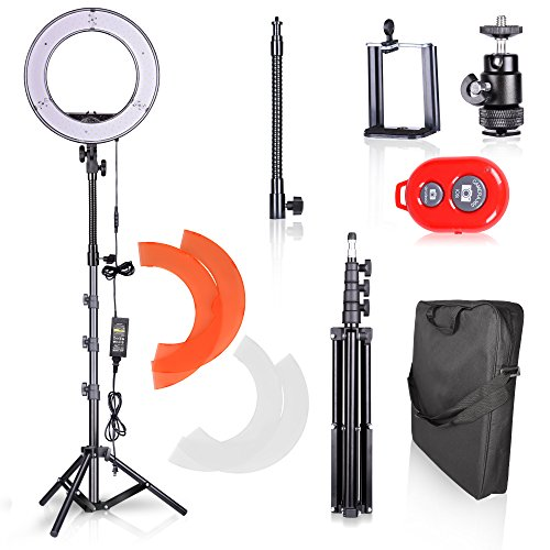 Emart Ring Light Photo Video Continuous Lighting Kit,14-Inch Dimmable SMD LED Shooting Photography Studio,Light Stand,Plastic Color Filter Set,Hot Shoe Adapter and Bluetooth Receiver for (Continuous Video Ring Light)